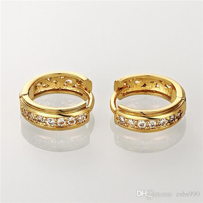 Haute qualité 18K plaqué or CZ diamant petit cerceau boucles d'oreilles Livraison gratuite mode bijoux cadeau de mariage pour femme