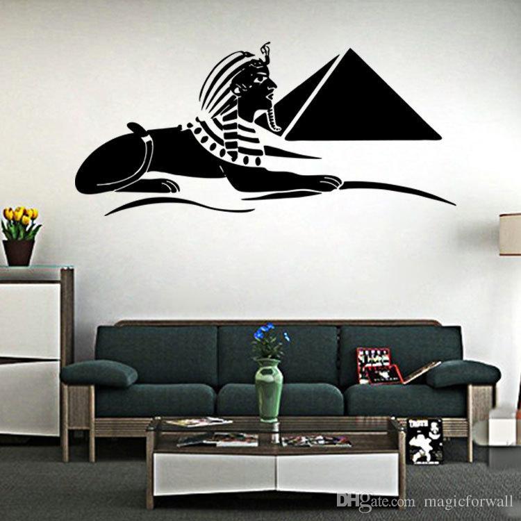 스핑크스 벽 예술 벽화 포스터 고대 이집트 보물 벽 데칼 스티커 거실 침실 예술 장식 벽 문신 벽 새해
