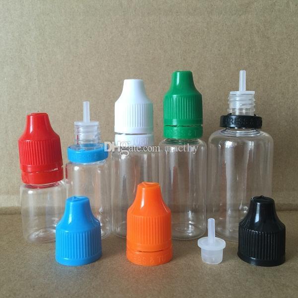 Bunte manipulierte Dichtung und kinderfeste leere Flasche 5ml 10 ml 15ml 20ml 30ml E flüssige Kunststoff-Dropper-Flaschen mit langen dünnen Tipps