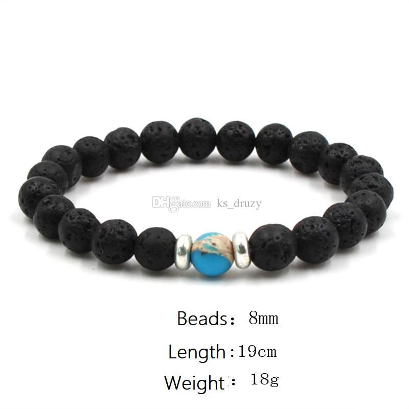 10 색상 자연 블랙 용암 돌 구슬 탄성 팔찌 에센셜 오일 디퓨저 팔찌 화산 바위 파란색 된 손 문자열