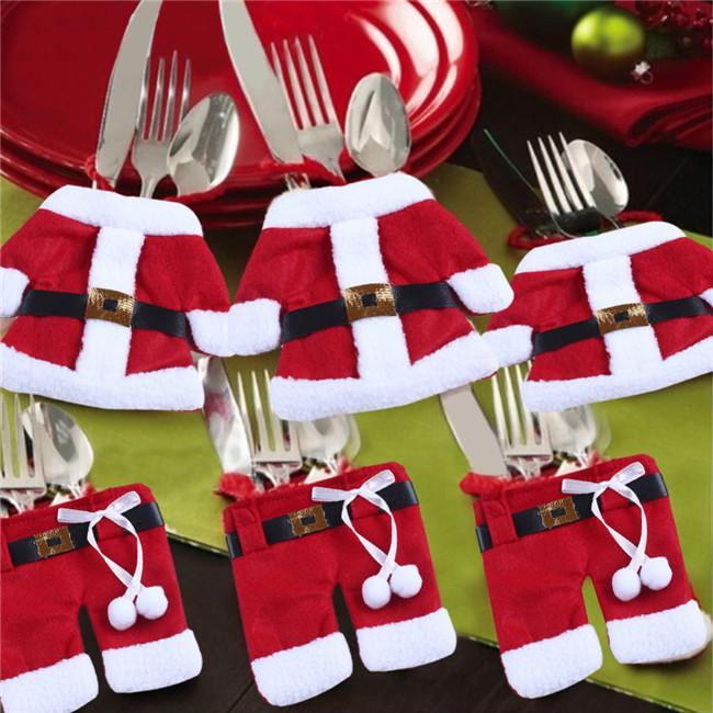 2015 Christmas Kitchen Cutlery Suit Silverware Holders Pockets Knifes Folks Bag Snowman Shaped Christmas Party Decoration Supplies