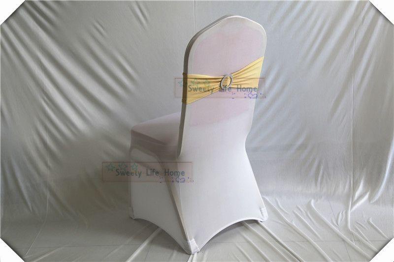 Envío gratis colorfulwedding silla arcos Bandas de la silla de plata Spandex silla Sash Stretch bandas de licra con hebilla redonda