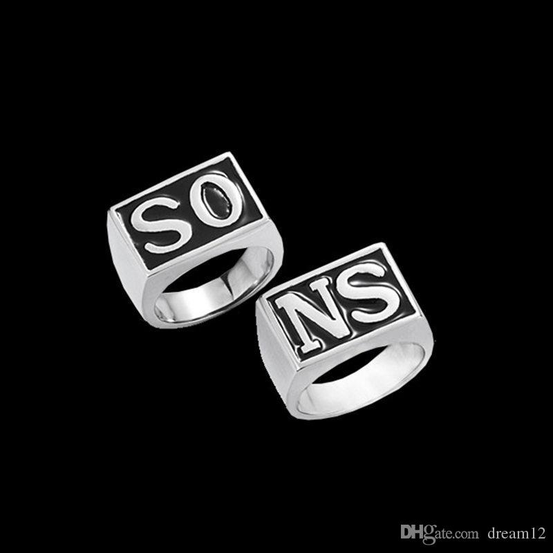 Pair Sons Of Anarchy Jax Teller So Sn Finger Ring Retro Letter
