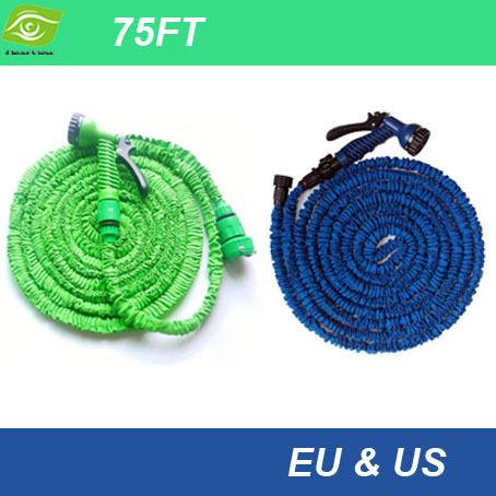 2014 Popular 75FT Pastic Retractable Hose With Spray Gun 22.5M Garden Hose Expandable Flexible Water Pipe US And EU Stantard,dandys