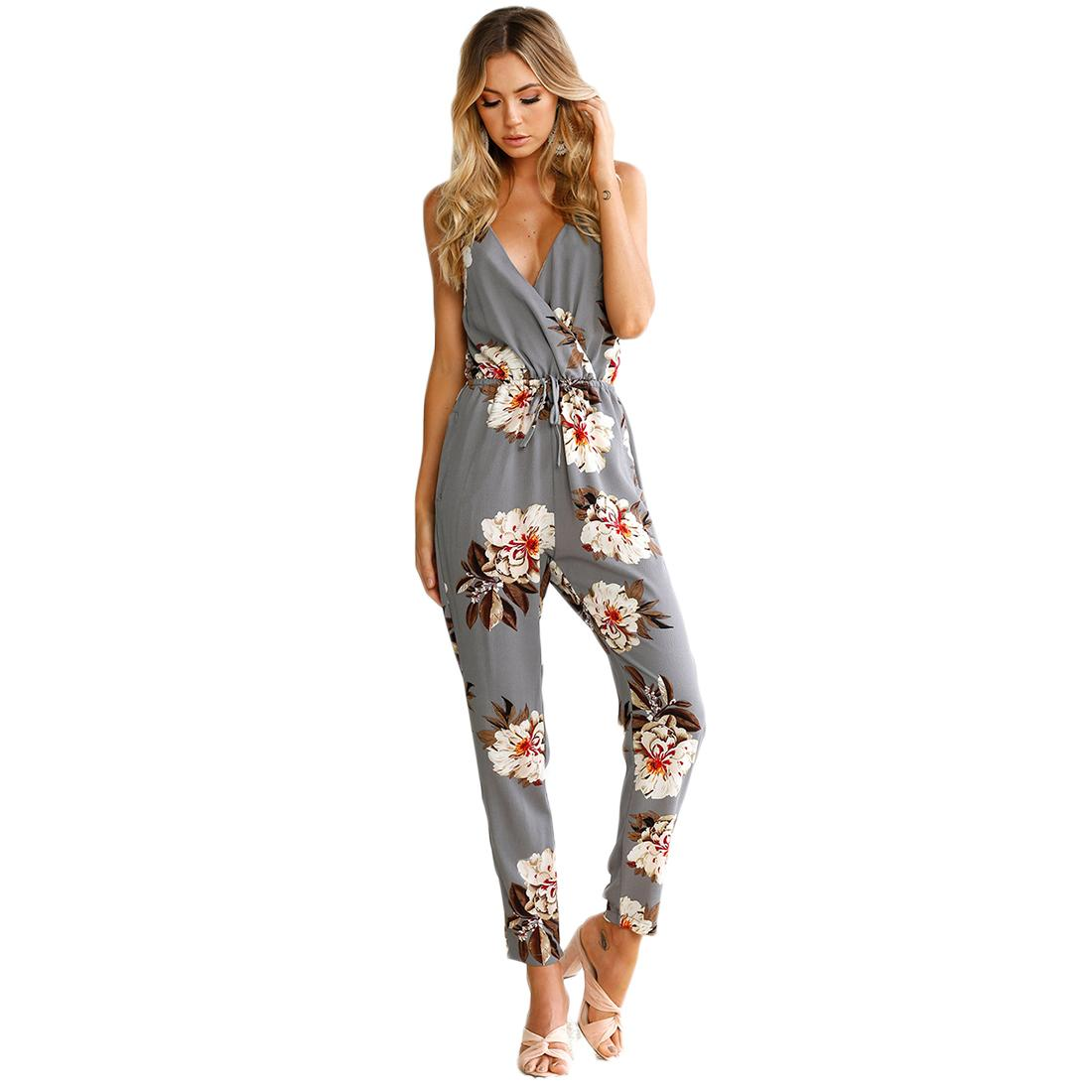 525ec60aa35 2019 Wholesale Fashion Jumpsuit Women Romper Spaghetti Straps Long Playsuit Floral  Print Summer Bodysuit V Neck Rompers Sleeveless Jumpsuit From Roberr