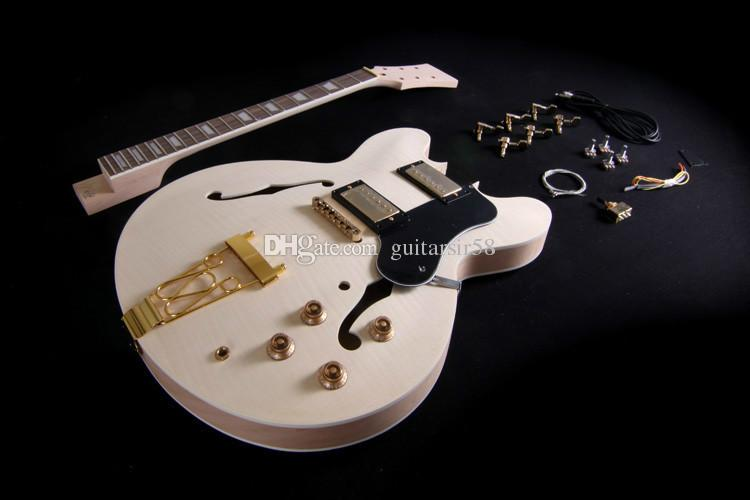 DIY Semi Hollow Body Electric Guitar Kit For Jazz Double Cutway With Flamed Maple Top Rosewood Fingerboard Gold Hardware