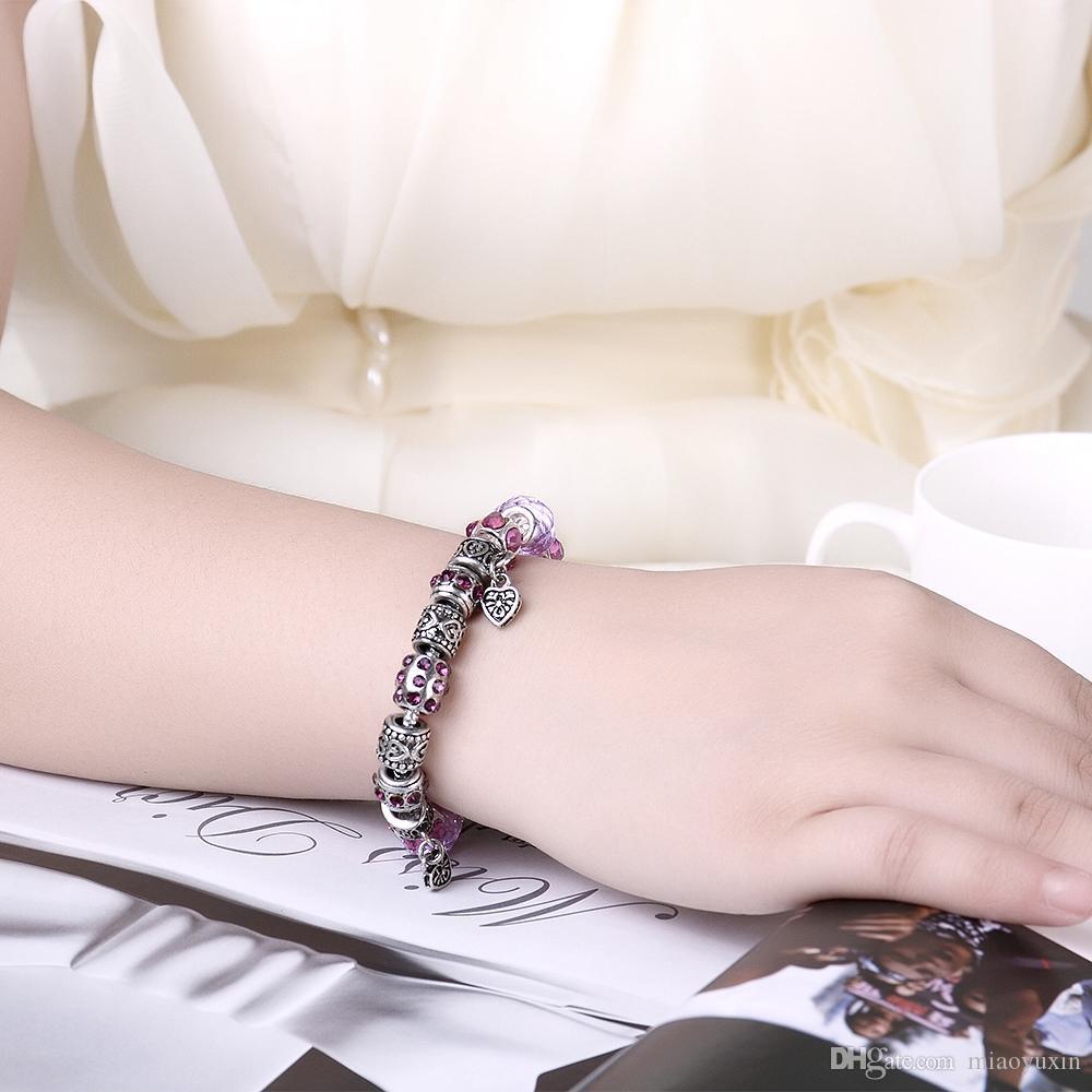 뜨거운 판매 패션 쥬얼리 실버 도금 매력 팔찌 독특한 하트 모양의 유리 구슬 DIY 생일 PDRH001-C 여성을위한