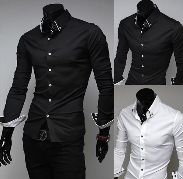 2017 Men Shirt Casual Slim Fit Fashion Luxury Dress Shirts Checked ...
