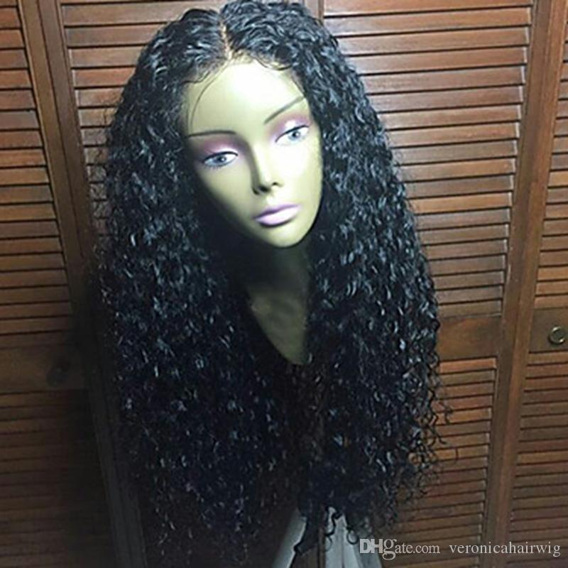 Charming Heat Resistant Synthetic Wigs 1b# Black Afro Kinky Curly Lace Front Wig Gluelese Synthetic Lace Front Wigs for black women