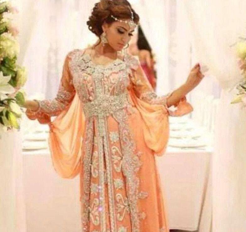 Luxus Kleid Elegant Abaya Dubai Kaftan Kaftan Perlen 2016 A-Line Party Kleid Langarm Arabisch Abendkleid