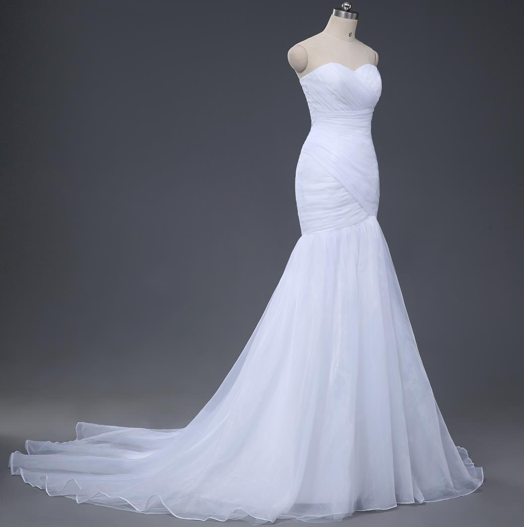 bbe3b639bd2 Real Sample Sexy Mermaid Wedding Dresses Under 100 2016 Wedding Gowns Cheap  Designer White Ivory Pleats Organza Bridal Dress Discount Tea Length Wedding  ...