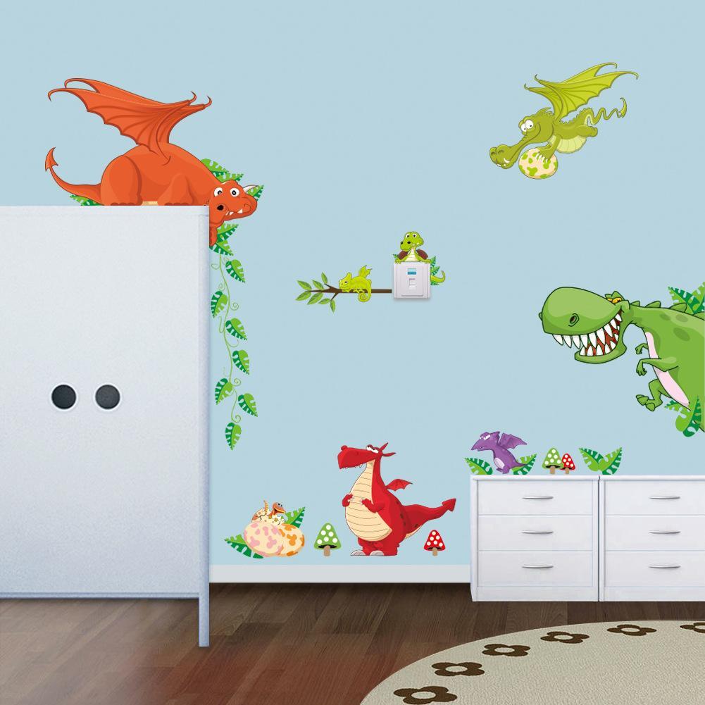 Grosshandel Kinder Cartoon Dinosaurier Wandaufkleber Wandkunst