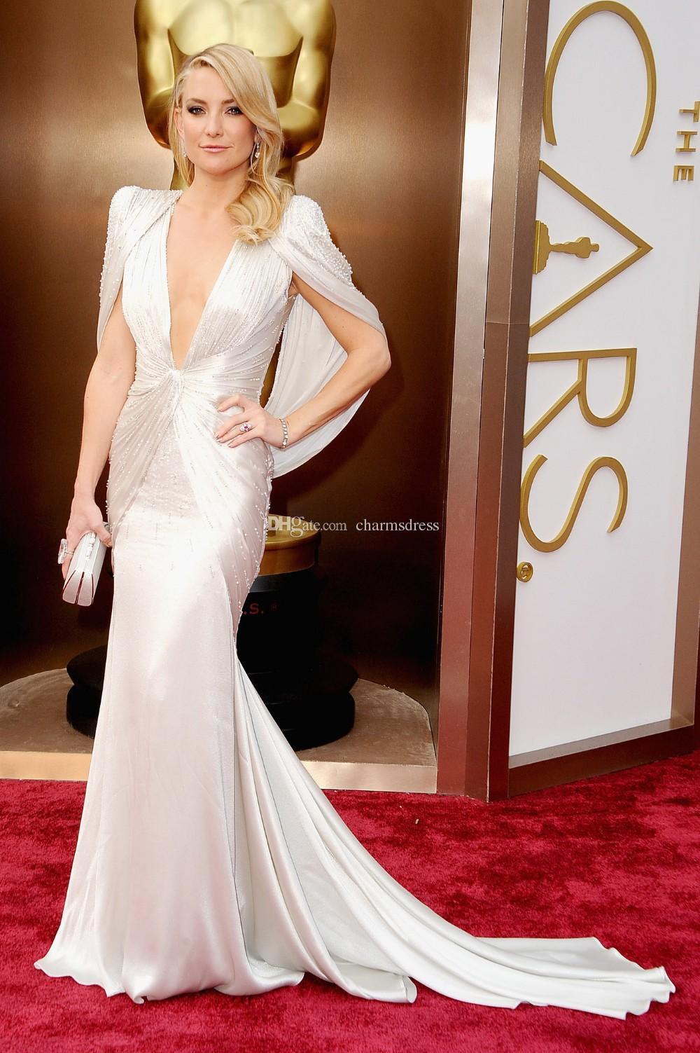 Kate Hudson White Deep scollo a V sirena backless in rilievo abiti da ballo lunghi abiti da festa abiti da red carpet abiti da sera 2015 Designer