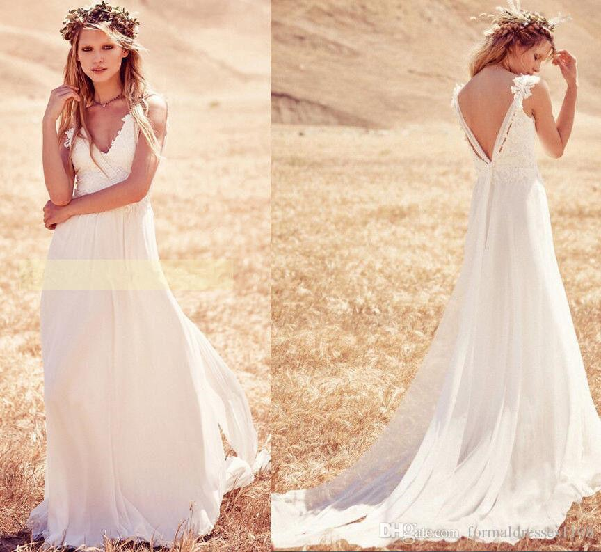 Country Western A Line Cheap Chiffon Bridal Gowns Beaded: Discount Lace And Chiffon Western Country Wedding Dresses