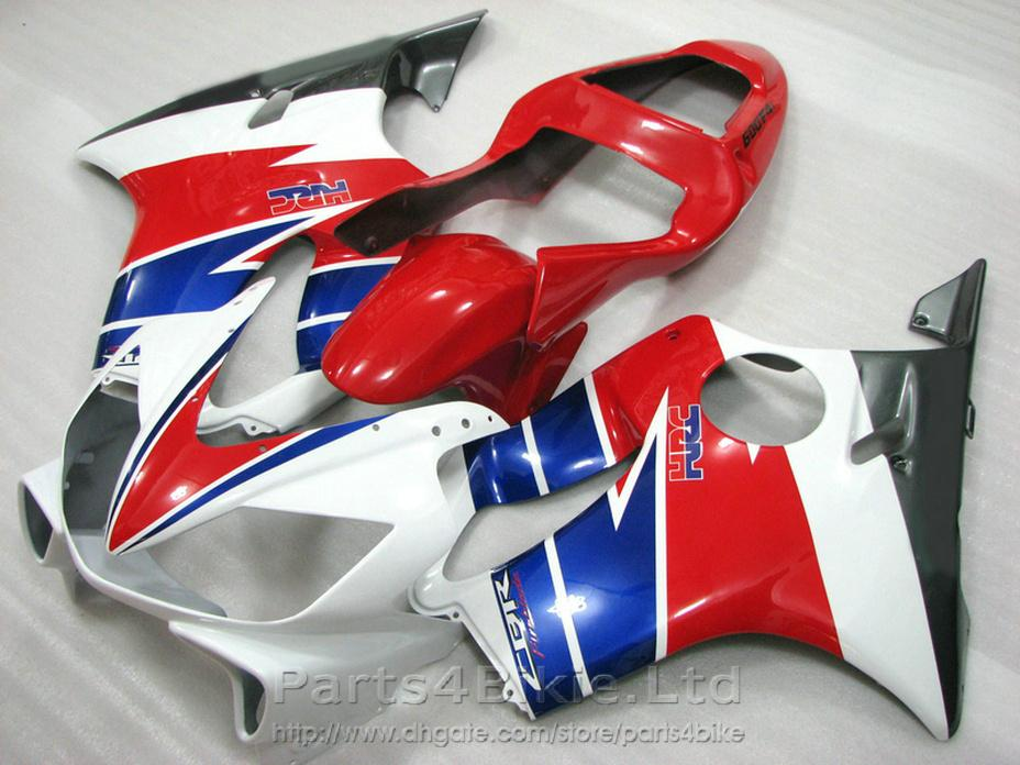 HRCred blue white bodykits Style for Honda CBR600 F4i fairing kit 2001 2002 2003 CBR F4i cbr600f4i fairings DRNO