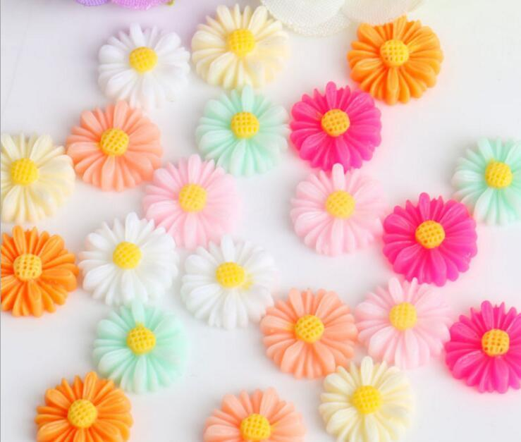 22mm Resin Daisy Flower Beads For Scrapbooking Craft DIY Hair Clip Fashion Accessories
