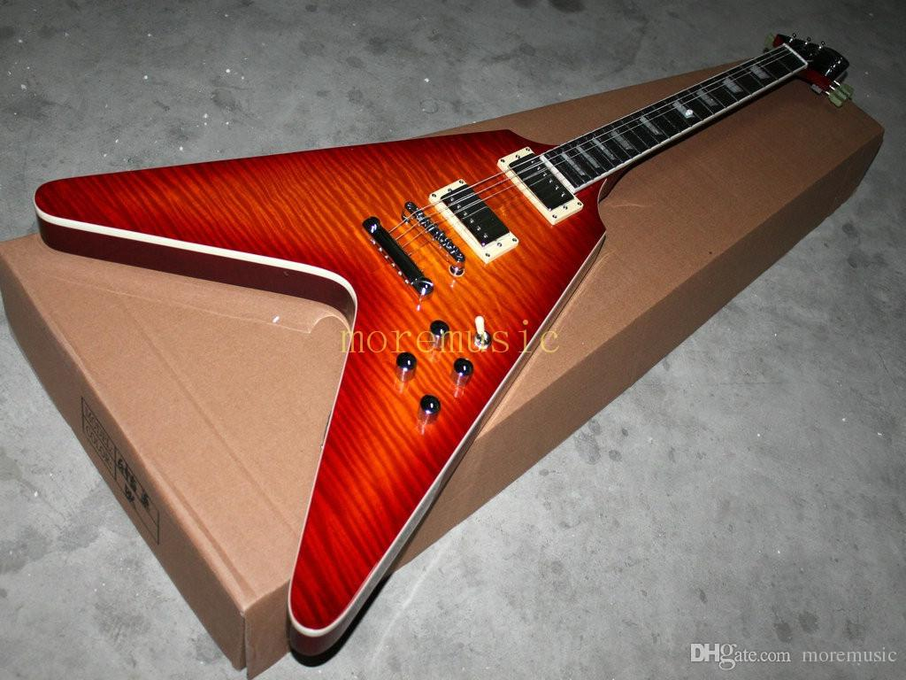 best selling cherry burst flying v electric guitar musical instruments high quality cheap oem. Black Bedroom Furniture Sets. Home Design Ideas