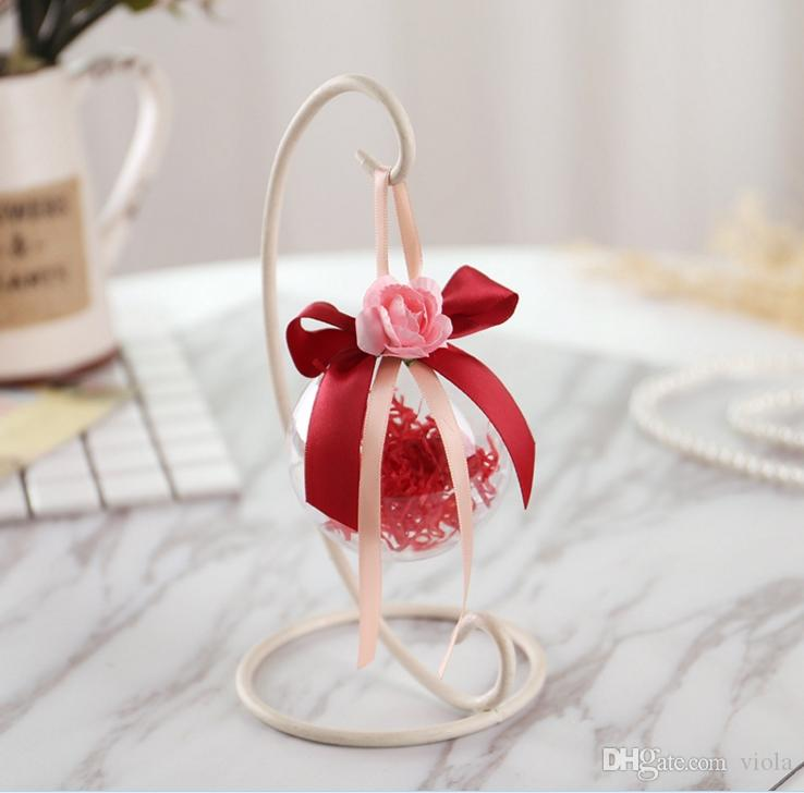 6cm 7cm 8cm Transparent Clear Plastic Opening Gift Candy Box Fillable Ball Baubles Decor Wedding Christmas Tree Decoration Party Supplies