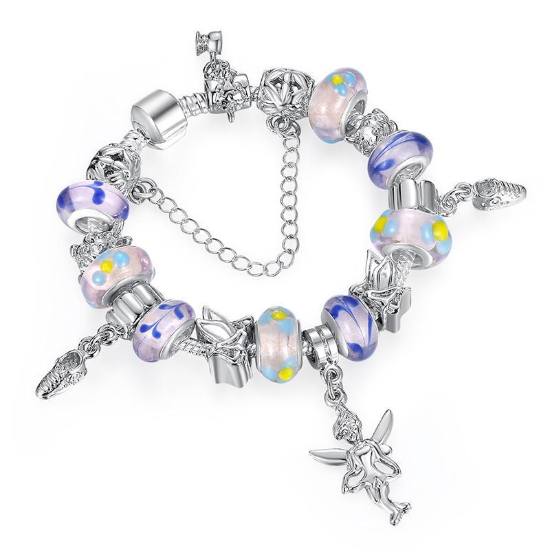 Элегантные европейские фиолетовые браслеты с шармом из муранского стекла Бусины с ангелами Украшения для европейского стиля для женщин BL088