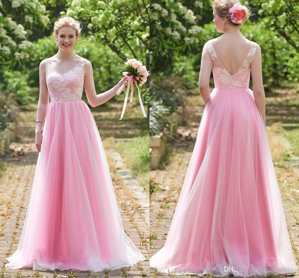 Fashion White Lace With Pink Organza 2018 Bridesmaid Dress Cheap ...