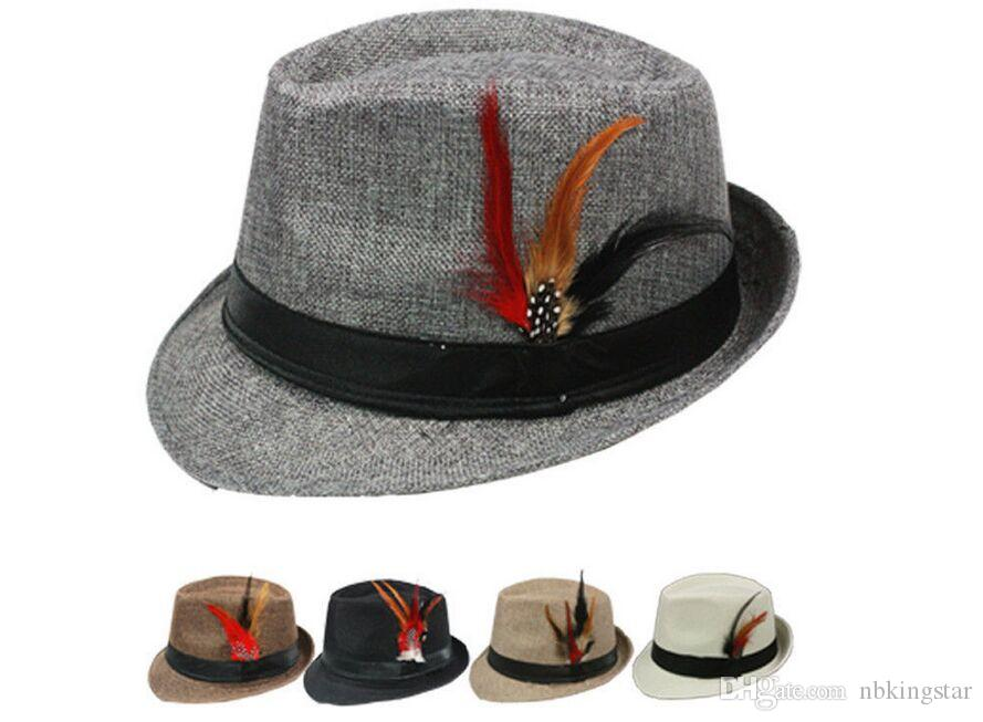 New Summer Trilby Fedora Hats Straw with Feather for Mens Fashion Jazz Panama Beach hat