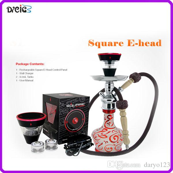 Square e head ehead e hose mini shisha Square hookah head Cartridge Refillable ehookah Disposable Hookah 2400MAH Vaporizer E Cigarette Kit