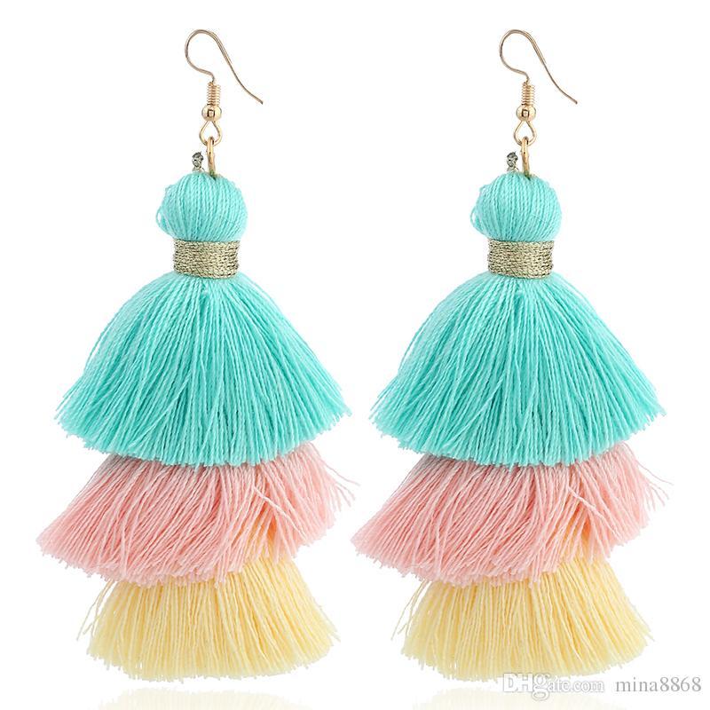 Mulit color pendientes largos de la borla para las mujeres joyería declaración 3 capas de flecos pendientes de gota grande moda hechos a mano cuelga los pendientes