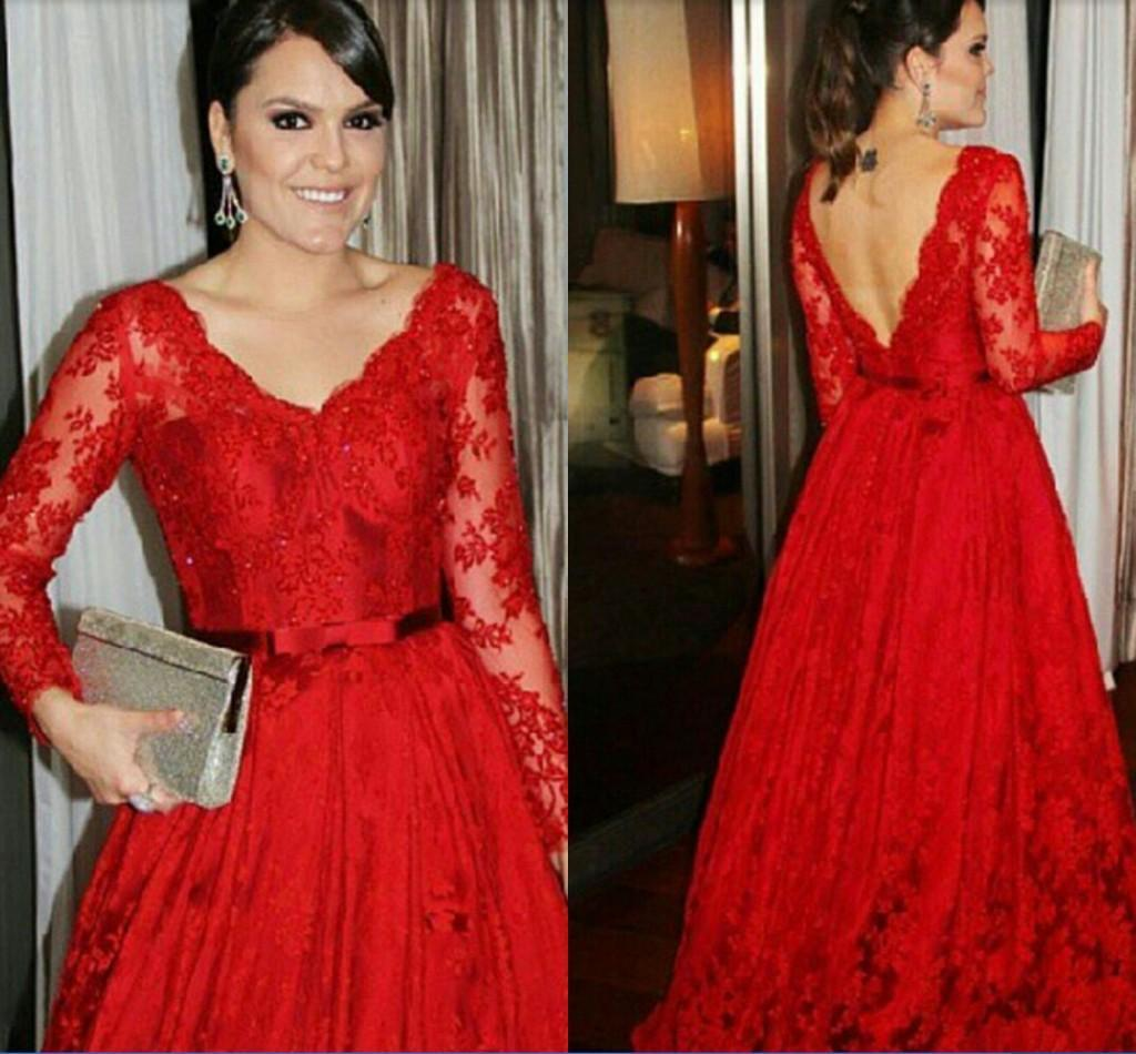 2016 Red Lace Celebrity Dress A Line Evening Gowns V Neck See ...