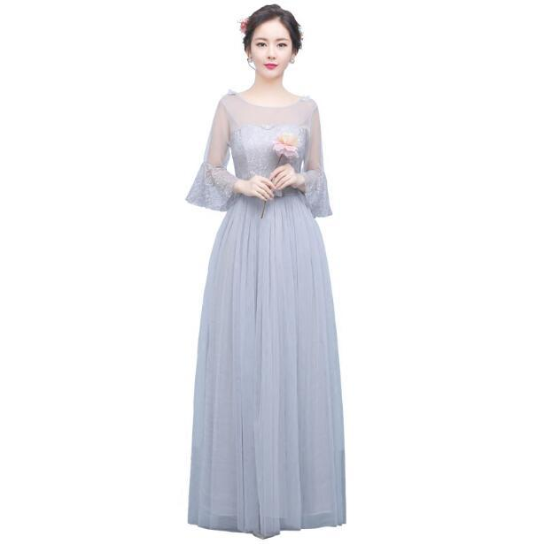 Promotion Champagne Gray Long Bridesmaid Dresses Bride Sisters ...