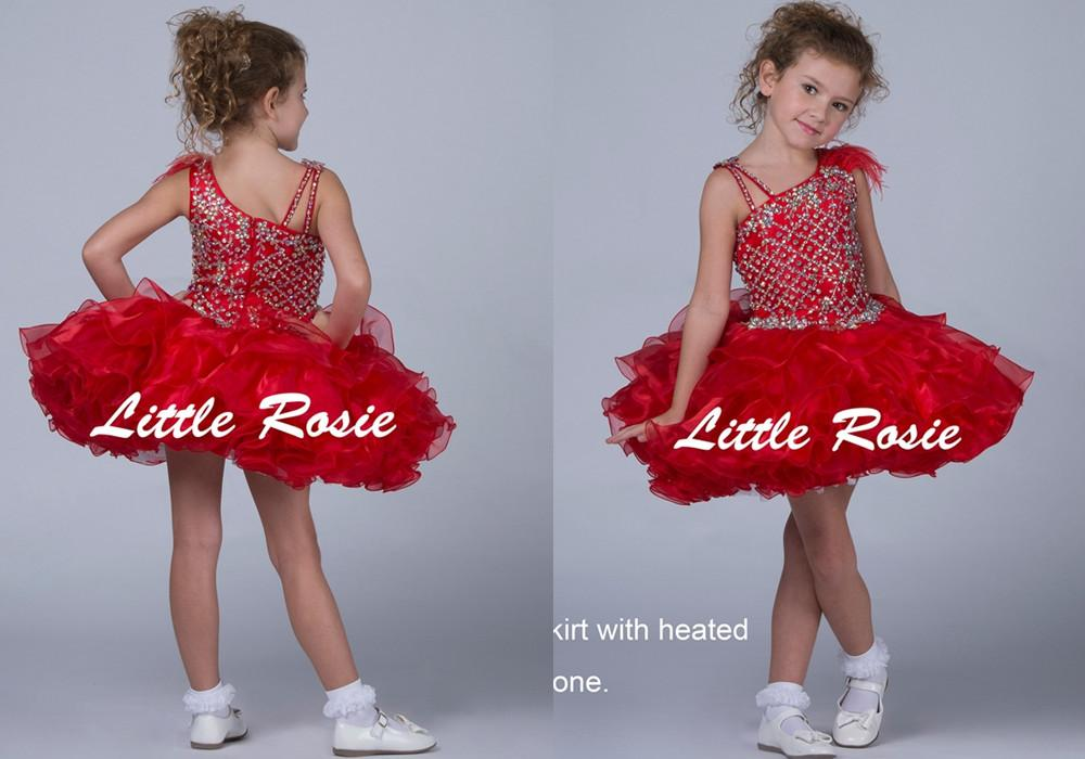 Red Short Little Girls Pageant Dresses Mini Skirt With