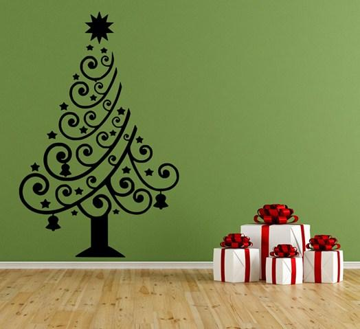 Merry Christmas Tree Wall Decal Home Livingroom Art Decor Wall Mural