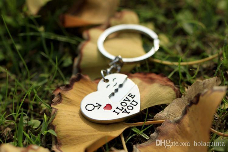 1 Paar Paar ICH LIEBE DICH Brief Schlüsselanhänger Herz Schlüsselanhänger Silbrig Liebhaber Liebe Schlüsselanhänger Souvenirs Valentinstag Gif