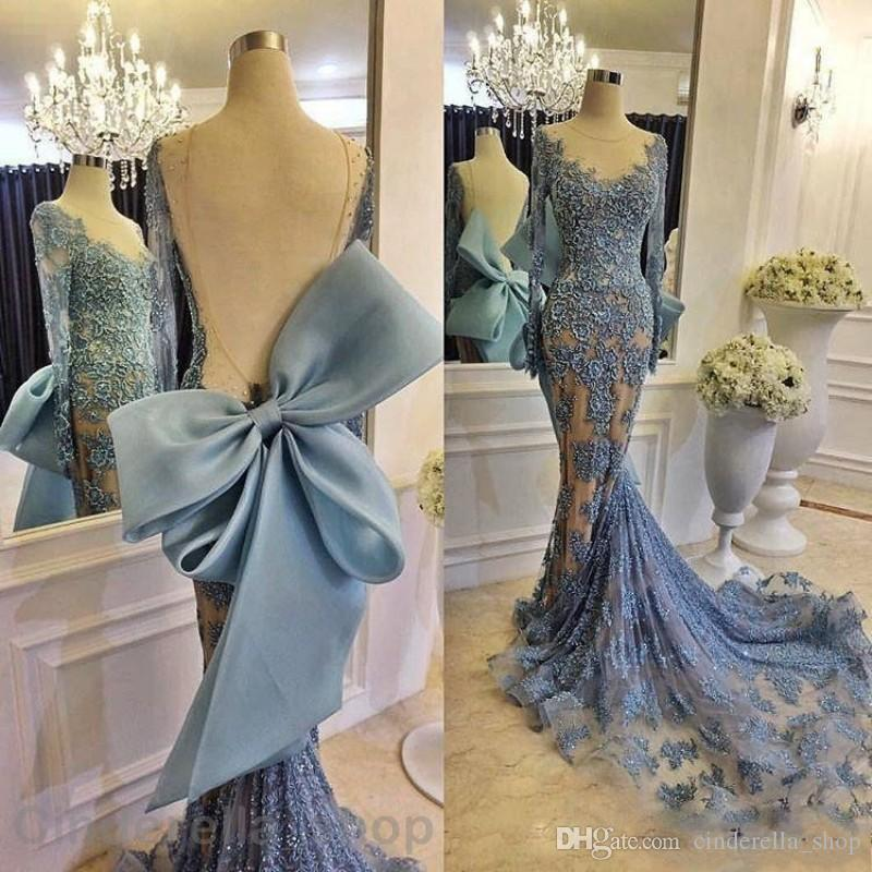 Modest Zuhair Murad Mermaid Evening Dresses 2017 Sky Blue Champagne Sheer Scoop Backless Long Sleeve Court Train Evening Party Gowns Big Bow