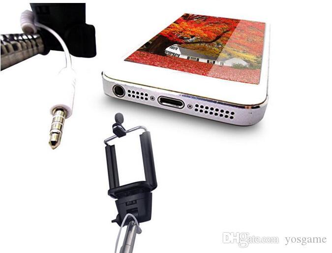 유선 셀카 스틱 핸드 헬드 모노 포드는 내장 된 셔터 확장 가능 + 마운트 홀더 아이폰 삼성 스마트 폰 모든 폰 카메라