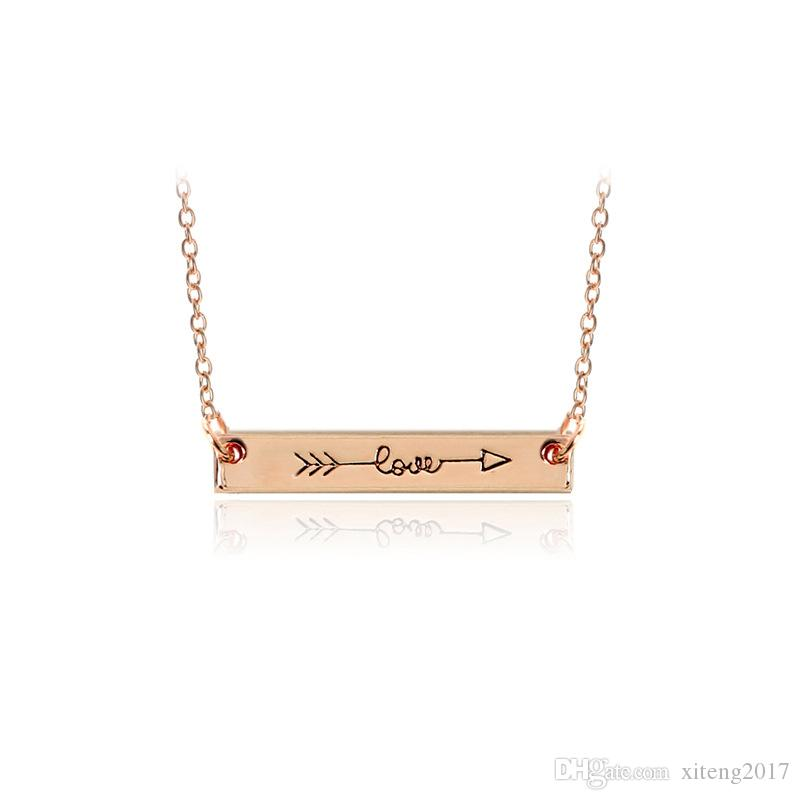 "Fashion Necklace Jewelry ""LOVE"" Letter Minimalist Gold & Rose Gold Color Bar Necklace Simply Horizontal Love Arrow For Women Daily"