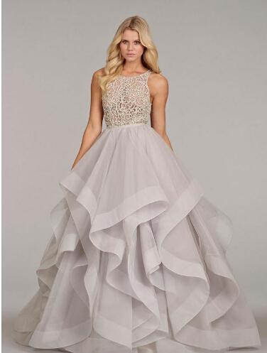 Compre Hayley Paige 2016 De Dos Piezas De Vestido De Novia Púrpura ...