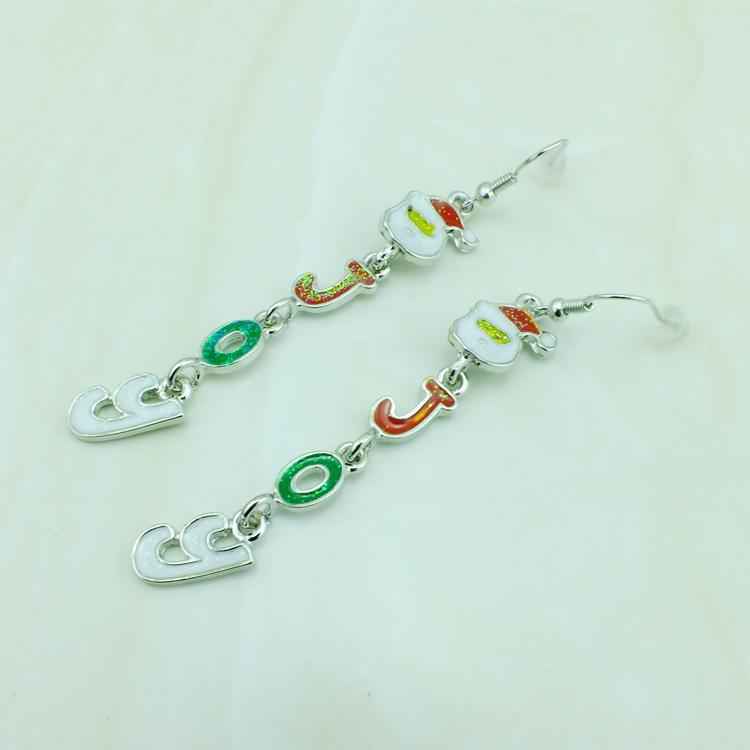 Fashion Charms Earrings Silver Plated Dangle Santa Claus Mix Color Letter JOY Earrings For Women Jewelry