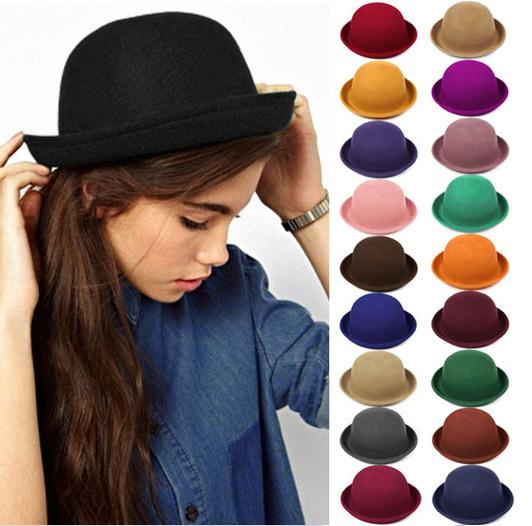 9692bdccaab Vintage Women Lady Cute Trendy Wool Felt Bowler Derby Fedora Hat Cap Hats  Caps Online with  6.4 Piece on Sex-lady s Store