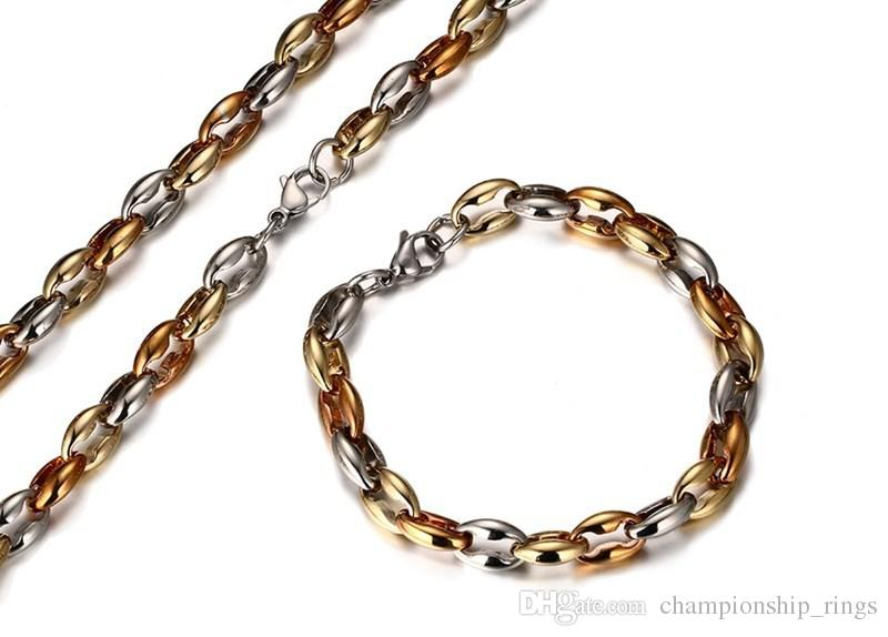 Christmas present 12.5.8g 10mm mens necklace+bracelet set 18k gold plated High quality fashion jewelry sets Holiday gifts