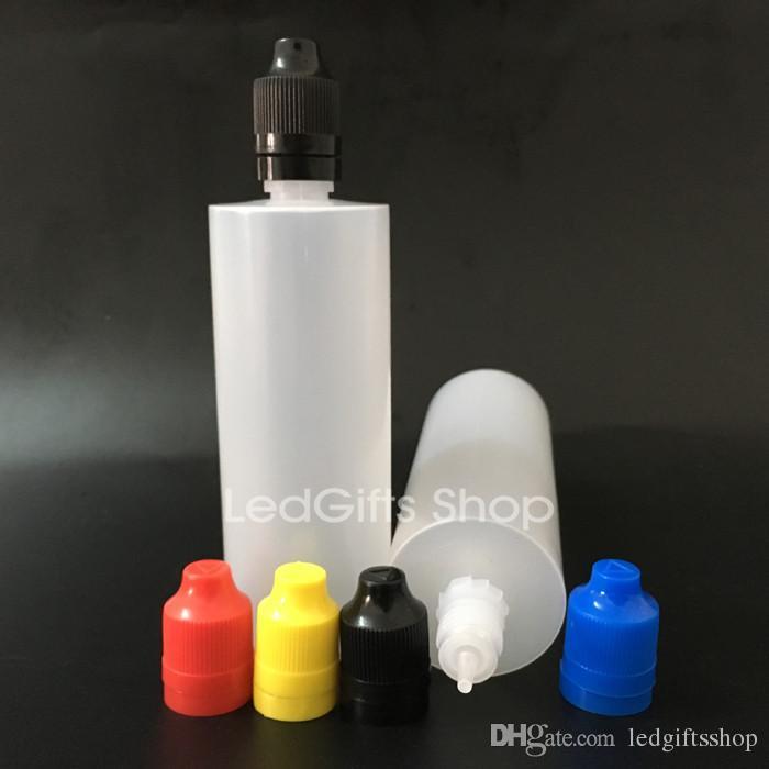 Trasporto libero manomissione colorato Evidente tenuta e cappuccio a prova di bambino a prova di bambino Bottiglia vuota 120ml e bottiglie di contagocce di plastica liquido con punte lunghe sottili