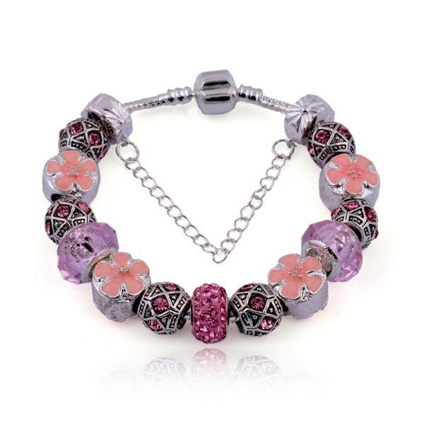 Fashion Style Charm Bracelets with Murano Glass Beads & Enamel Flower Sliver Charms Snake Chain Bangle Bracelets for Women BL024