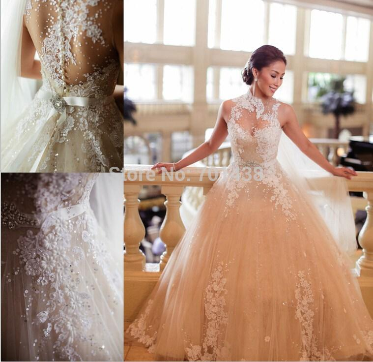 Discount 2015 Best Design Ball Gown Wedding Dresses High Neck Pearls Covered Button Sheer Lace Appliqued Champagne Tulle Dress Designer