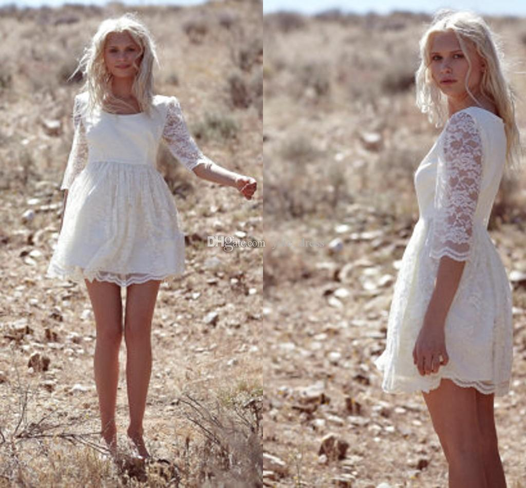 Discount 2015 Lace Short Baby Doll Wedding Dresses Crew 3/4 Long ...