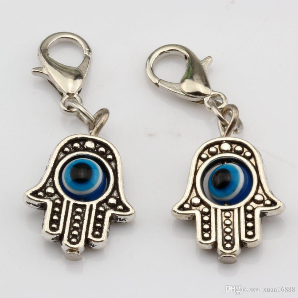 Caldo ! Antique Silve di Hamsa dell'occhio diabolico della mano di Kabbalah Good Luck Charms con il catenaccio di fascino misura il braccialetto Gioielli fai da te 13x32.5mm