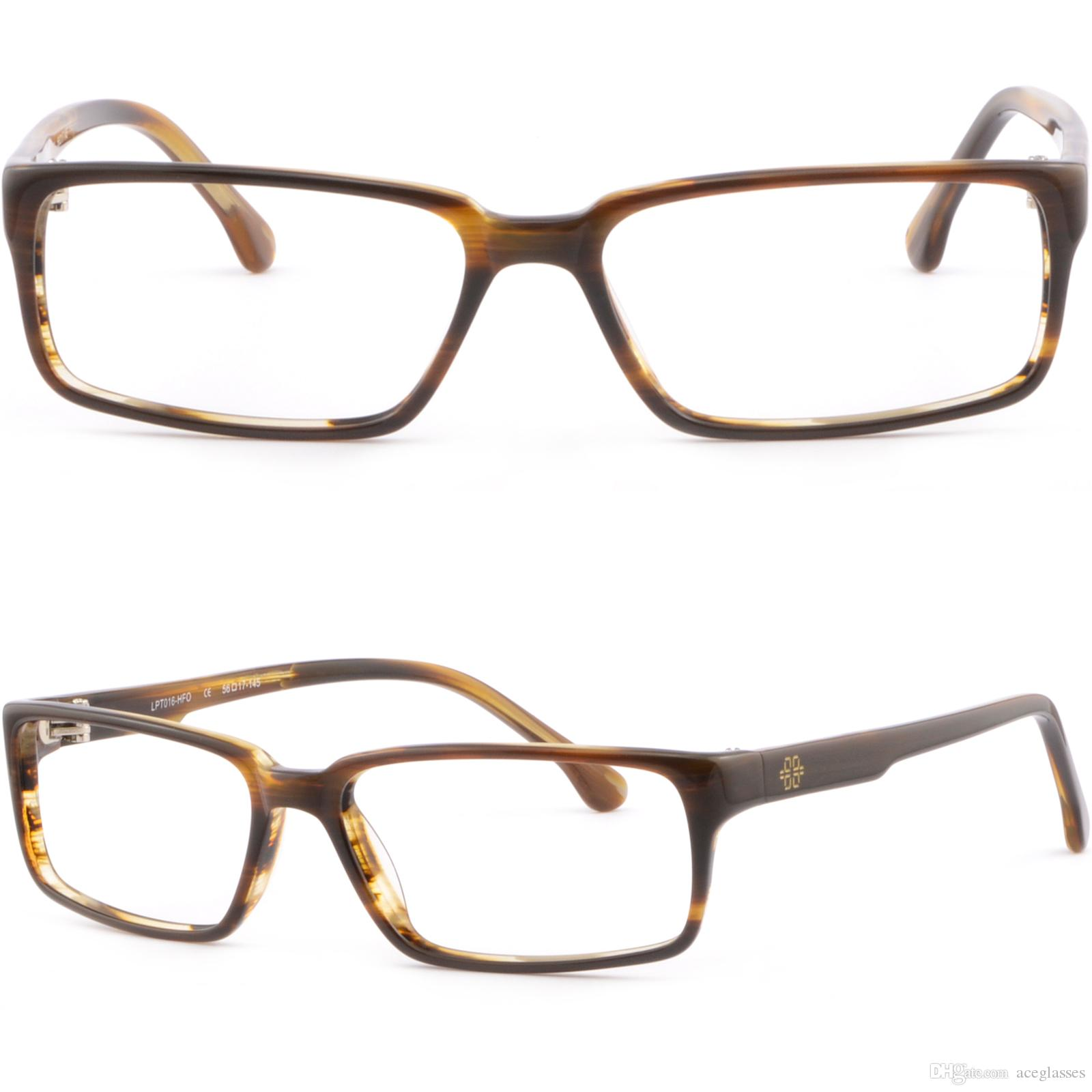 Brown Full Rim Rectangle Light Plastic Frames Prescription Glasses ...