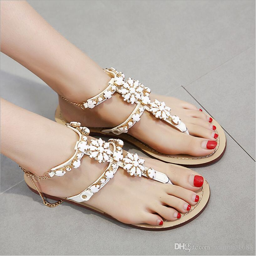 9527edf1d59c8e Woman Sandals Women Shoes Rhinestones Crystal Chains Thong Gladiator Flat  Sandals Chaussure Plus Size 35 47 Sandal Ladies Shoes From Waimao1688