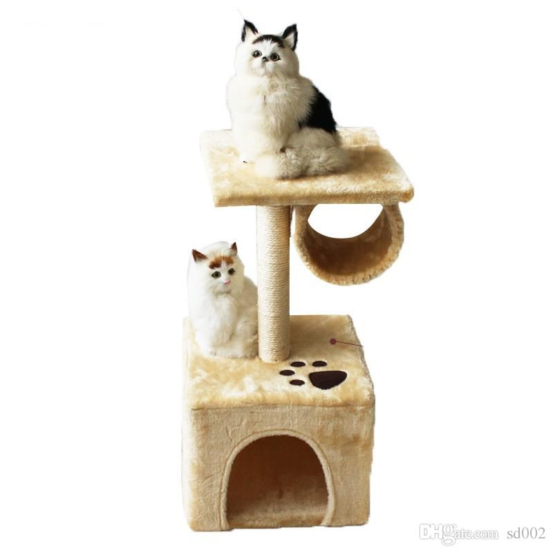 Durable Cat Houses With Fitness Roller Bold Hemp Rope Cats Climbing Frame Short Plush Pet Tree Toys High Quality 49zf B