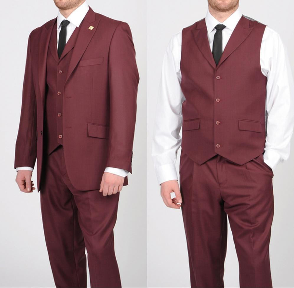 Modest Burgundy Party Suit Groom Tuxedos Best Man Suit Bridegroom Wedding Evening Ball Gown Suit Two Buttons Three-piece Peaked Lapel S-q184