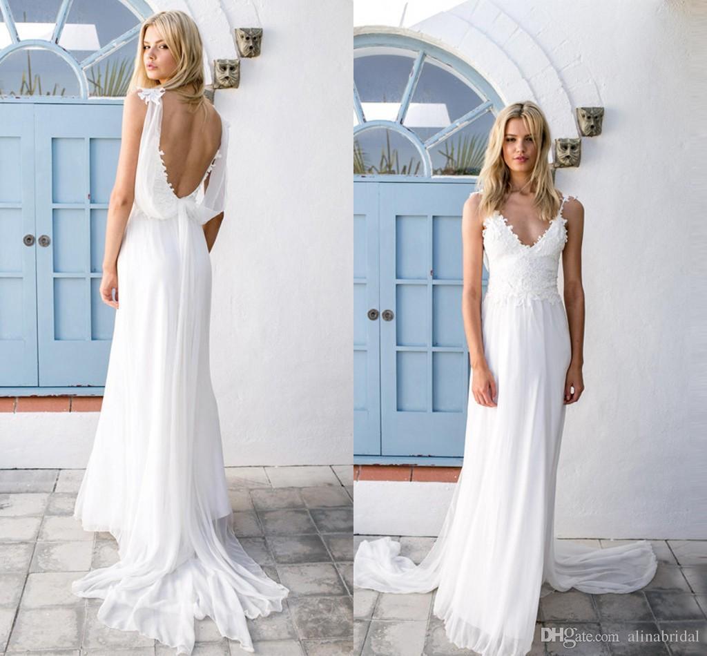 Discount 2016 Summer Beach Long Chiffon Wedding Dresses A Line ...