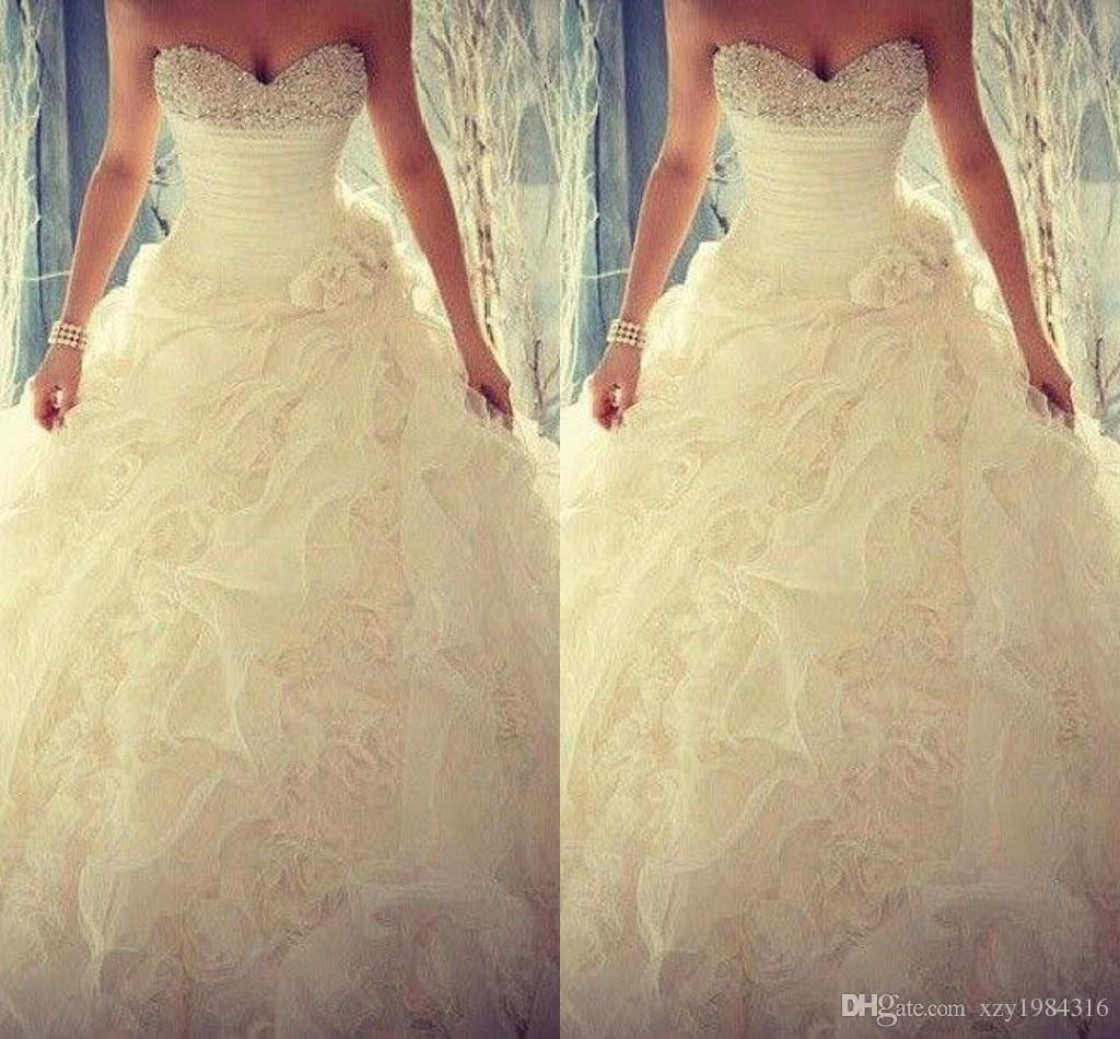 2015 Spring Beaded Crystals Wedding Dresses Flouncing Ruffles Handmade Flower Organza Wedding Gowns Sweetheart Ball Gown Elegant Bridal Gown